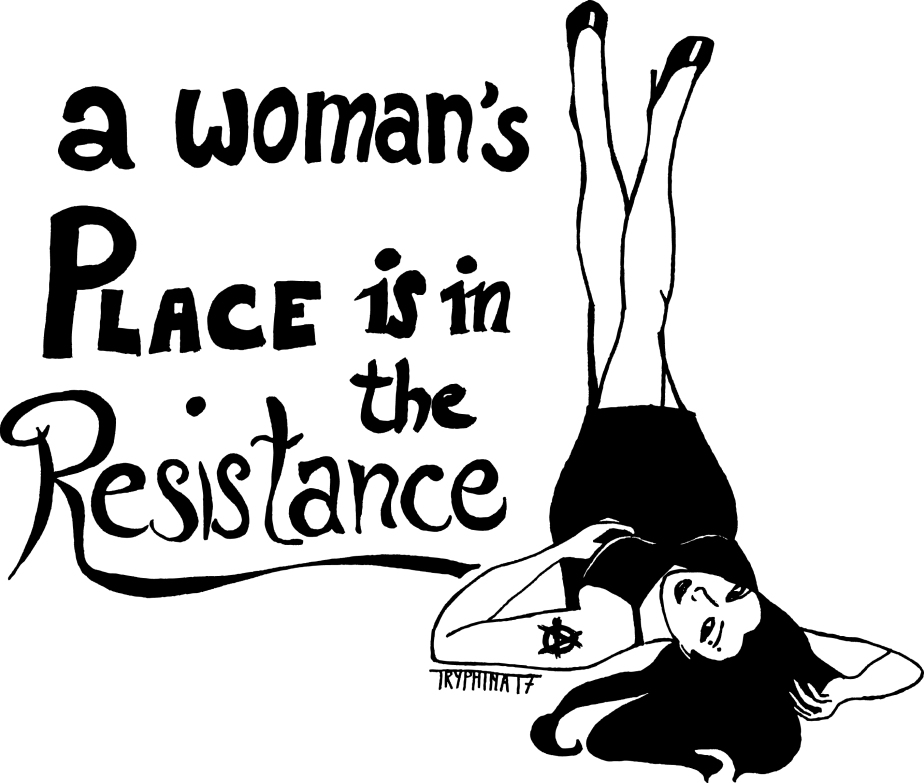 "ink painting of a pinup with the text ""a woman's palce is in the resistance"""""
