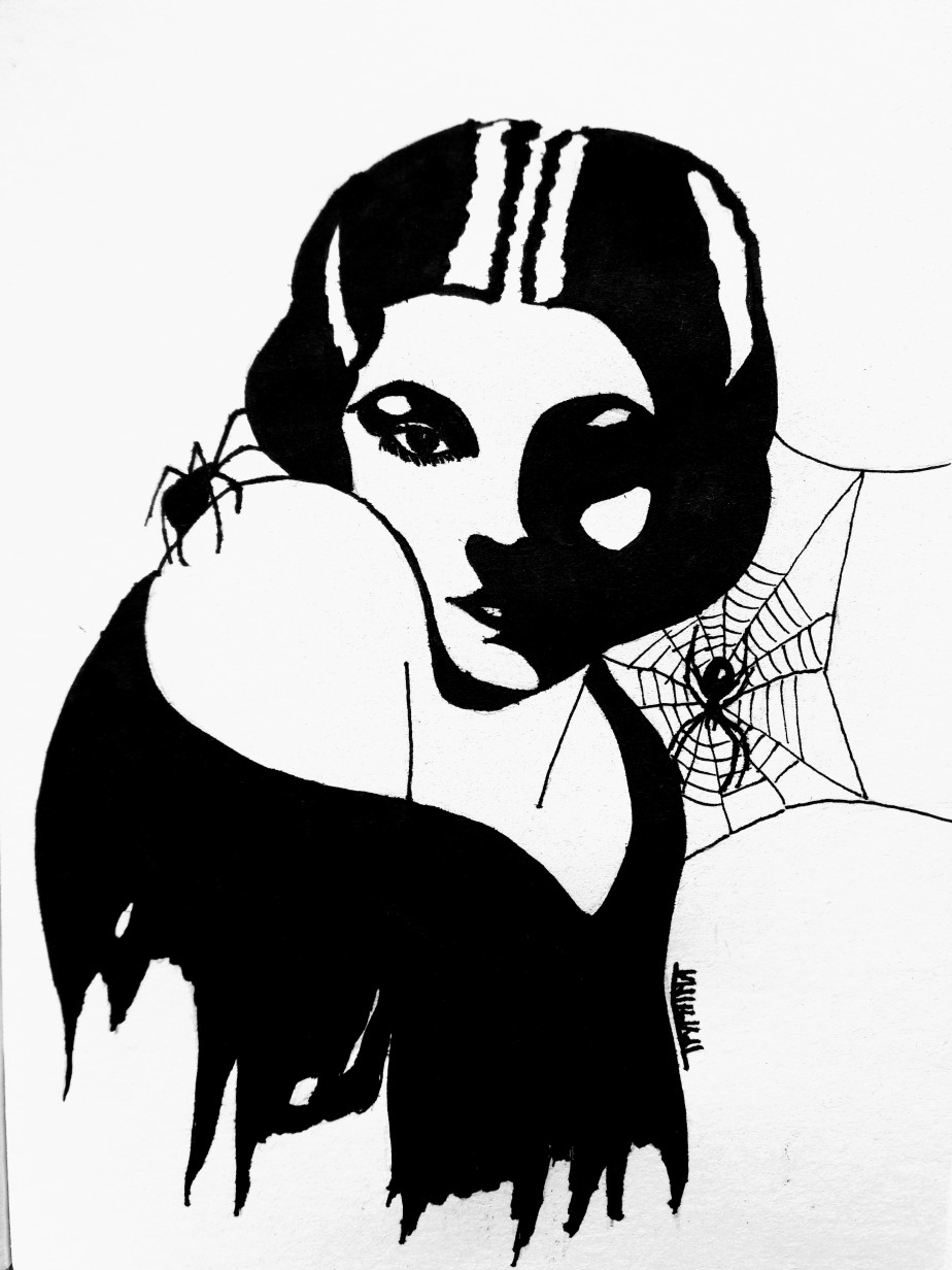 Portrait of myrna loy, with ragged clothes and spider webs, in b movie horror style.