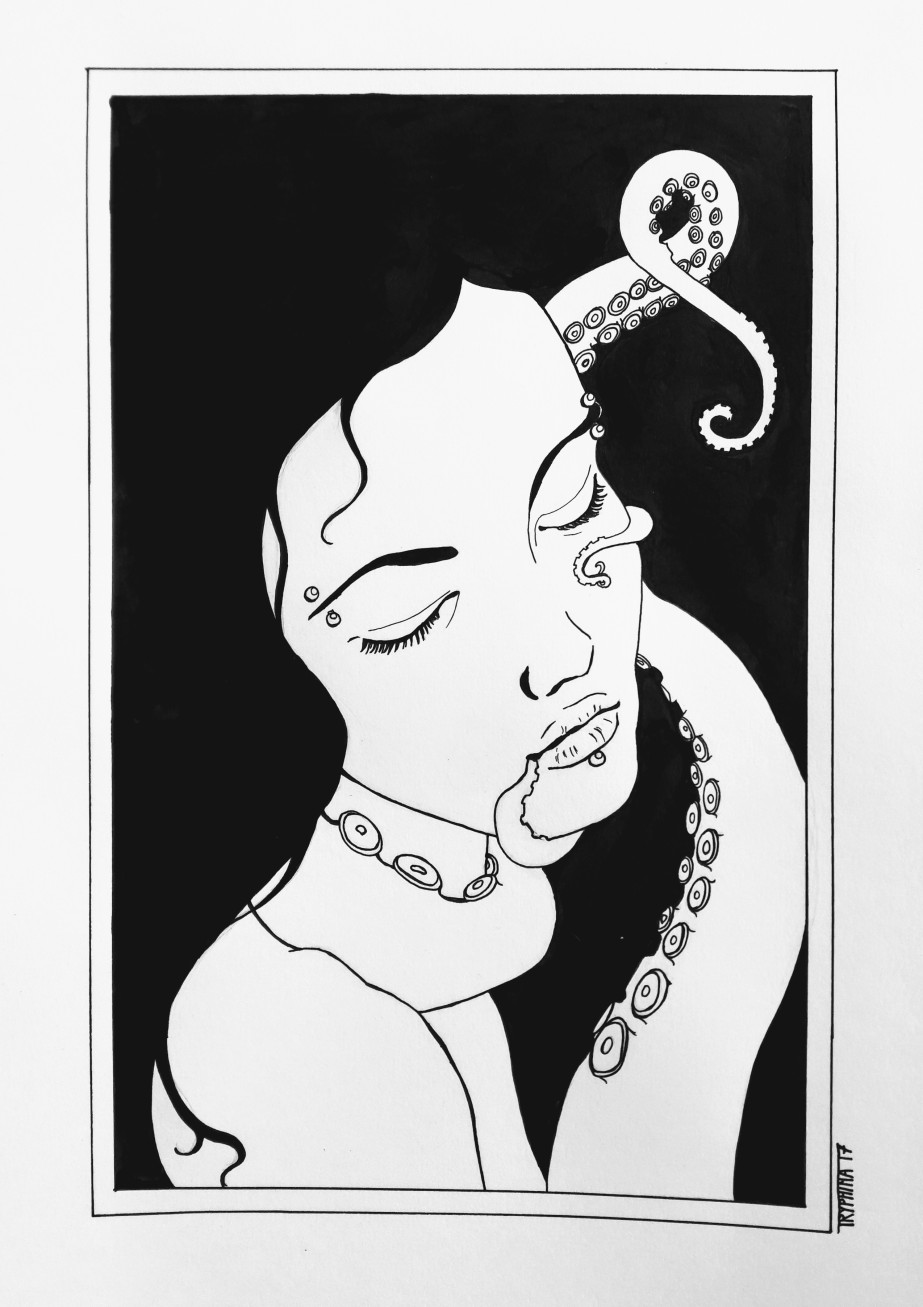 Portrait of a woman with several facial piercings, eyes closed, enjoying the caress of tentacles.