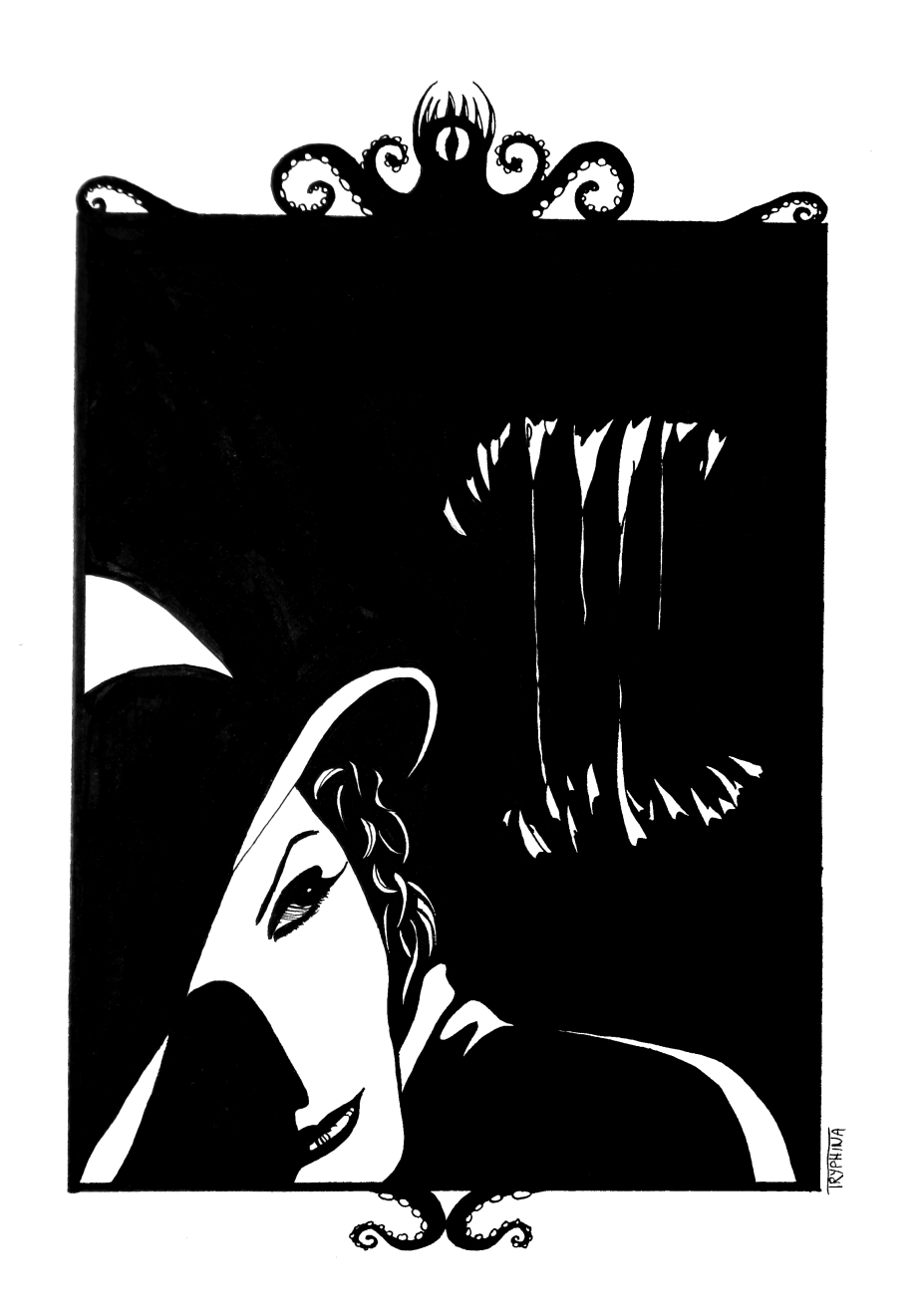 Ink painting of a woman looking over her shoulder, behind her a monster's mouth opens.