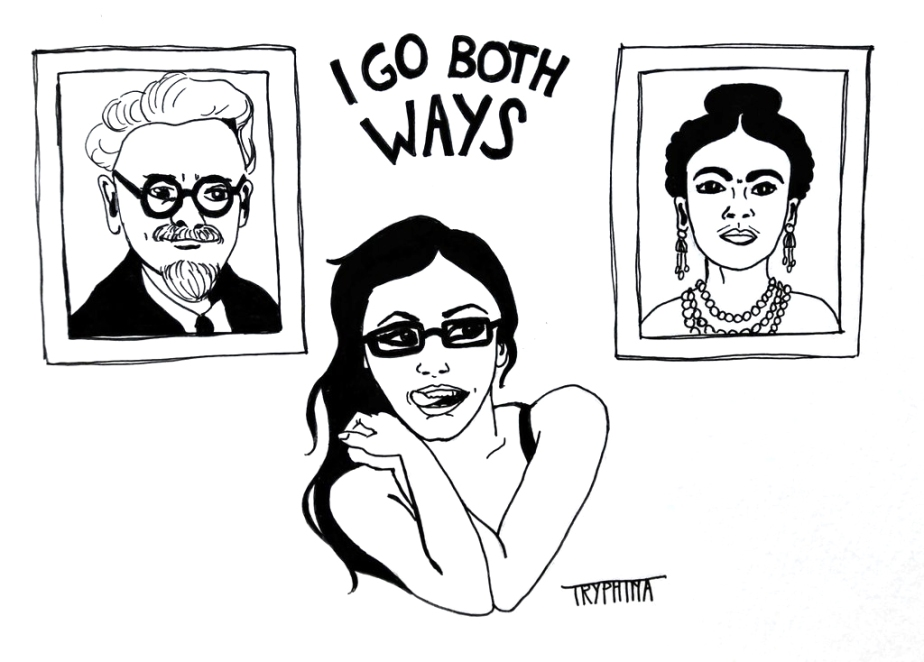 "a young woman with glasses between the portraits of leon trotzky and frida kahlo, with the text ""i go both ways"""
