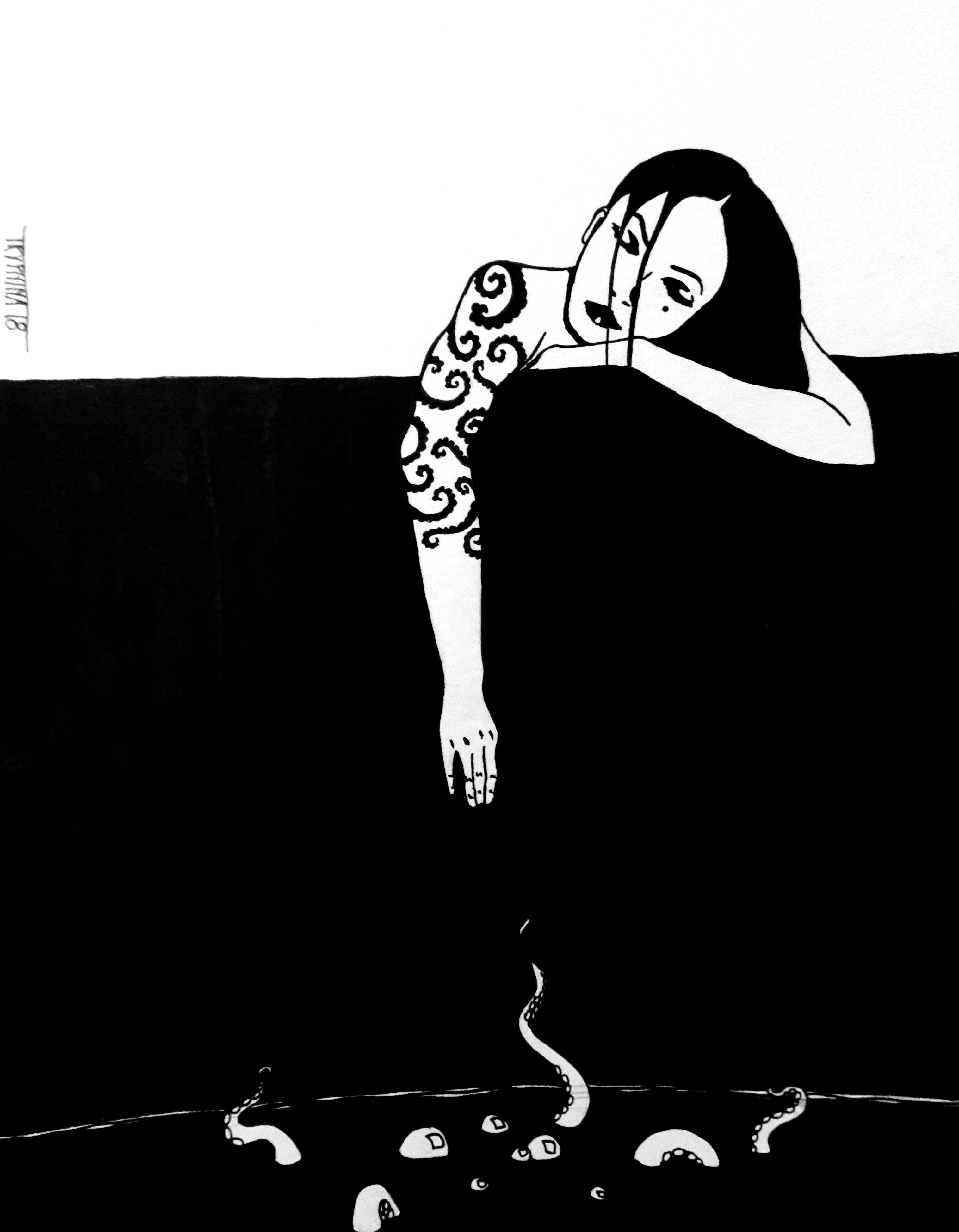 ink painting of a woman with a tentacle tattoo on her arm reaching down into the darkness, where bubbles and tentacles emerge from water.