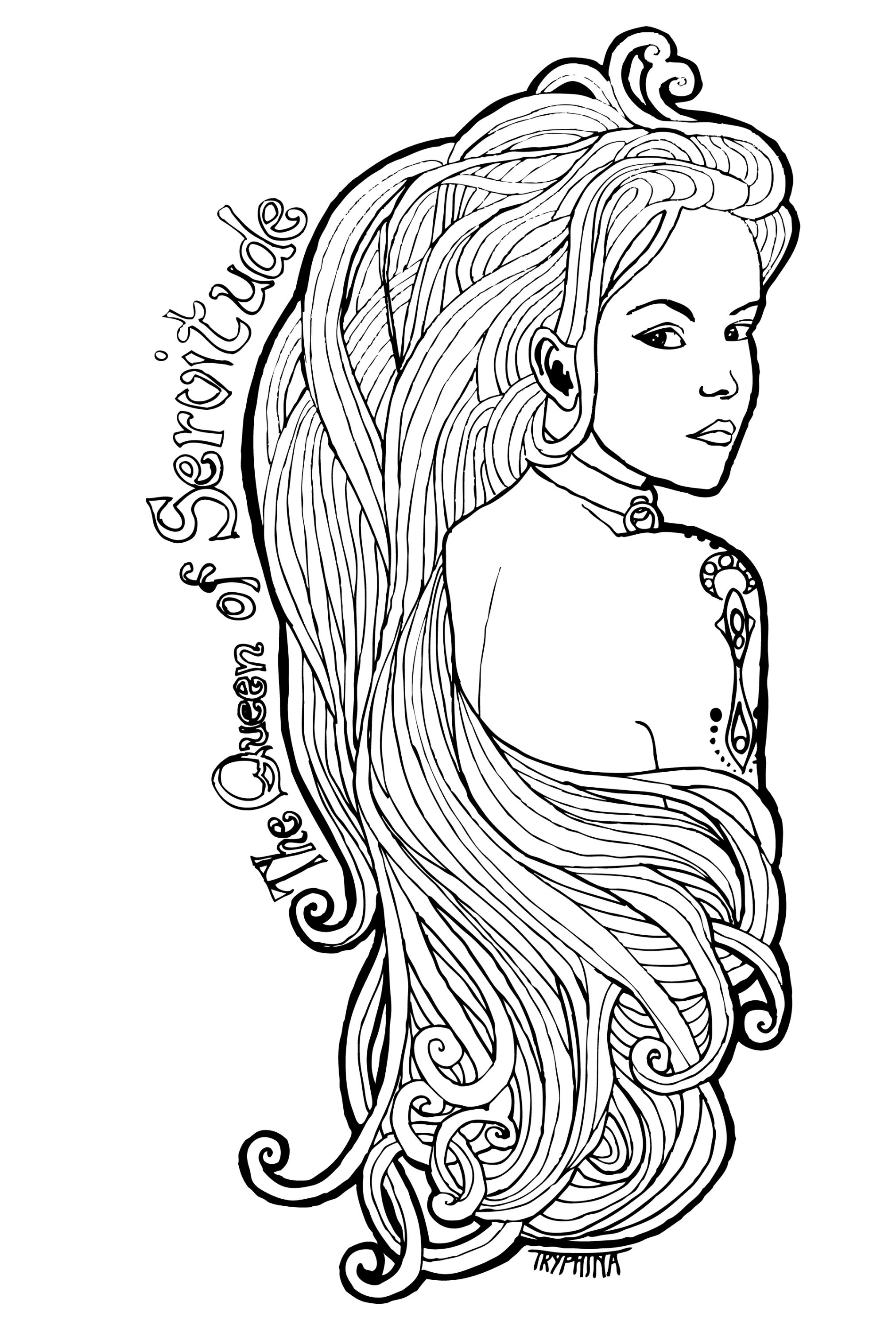 Art nouveau portrait of a young woman with a shoulder tattoo and metal slave collar