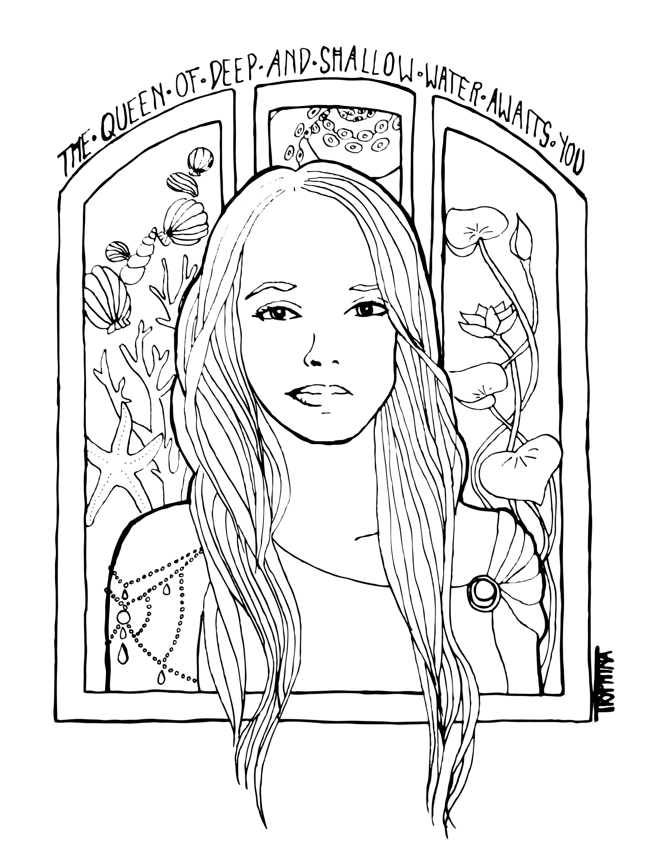 Art nouveau style portrait of a young woman surrounded by waterplants