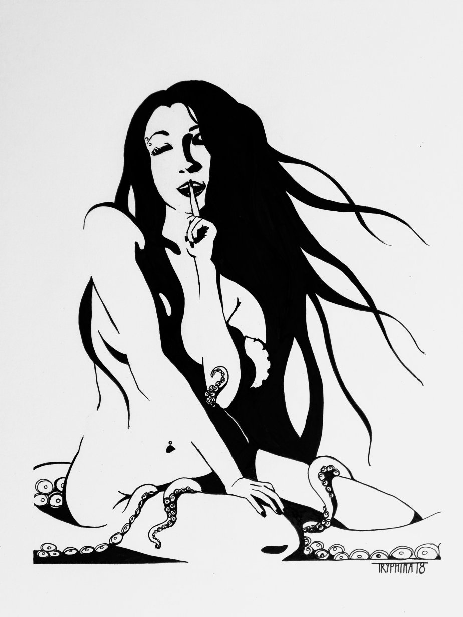 ink painting of a nude model sitting on the ground, tentacles sliding around her legs, she smiles and puts a finger to her lips