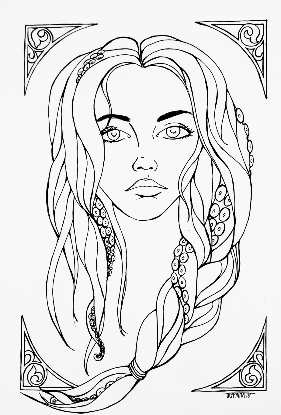 art nouveau style portrait of a woman with tentacles entwied in her long hair