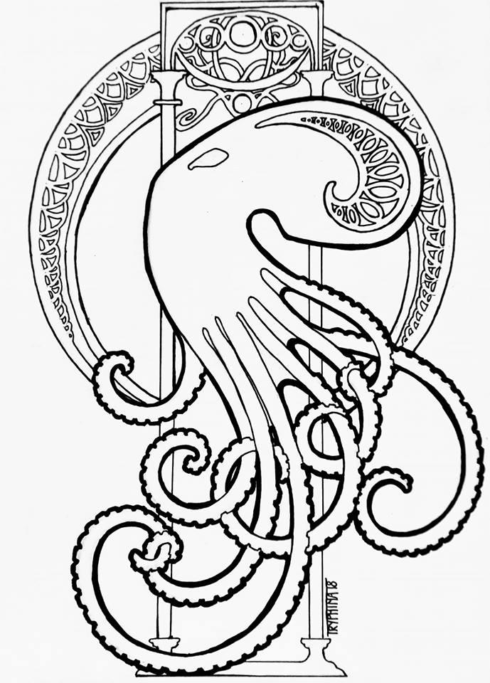 art nouveau style octopus