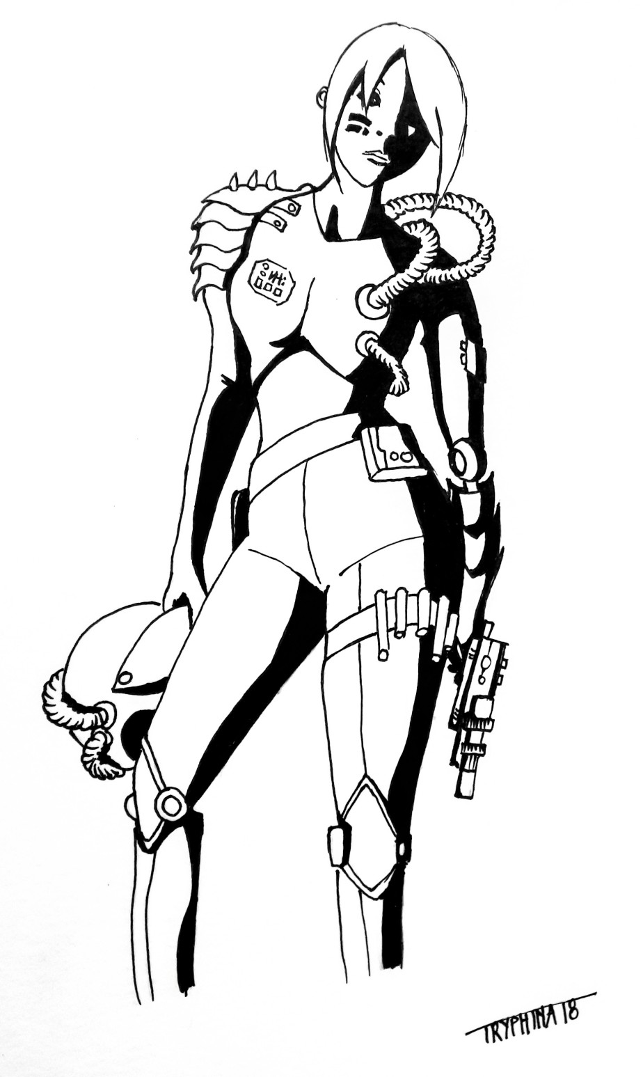 a cyberpunk bounty hunter with her helmet in one hand and a gun in the other.