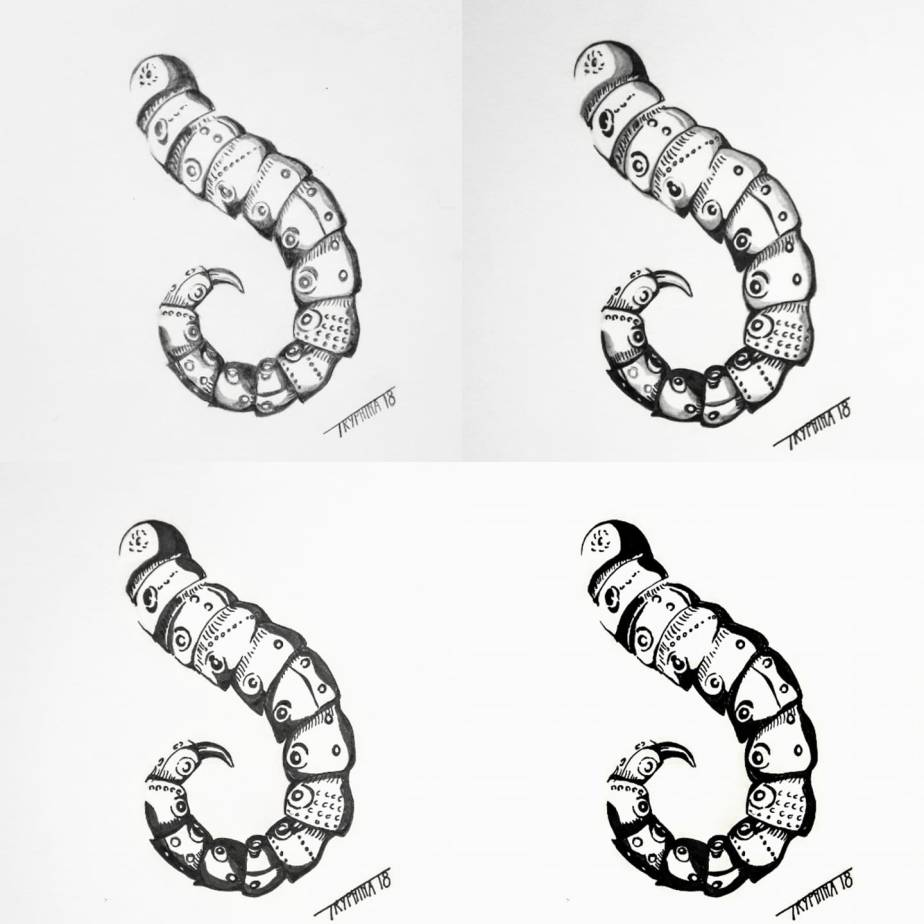 four ways of drawing a mechanical tentacle