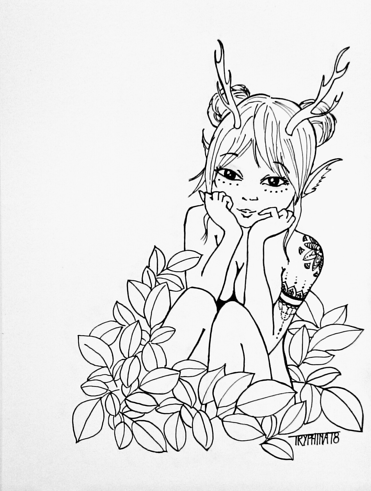 manga style forest spirit, naked, with antlers, sitting in poison ivy.