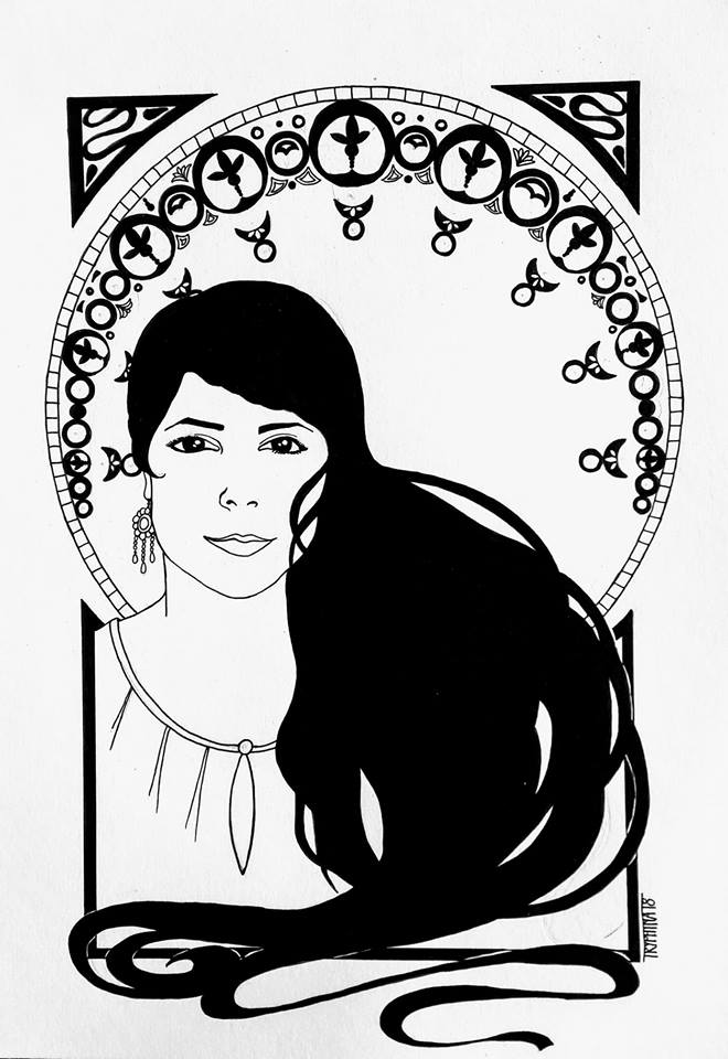 portrait of a woman with long black hair and art deco ornaments surrounding her
