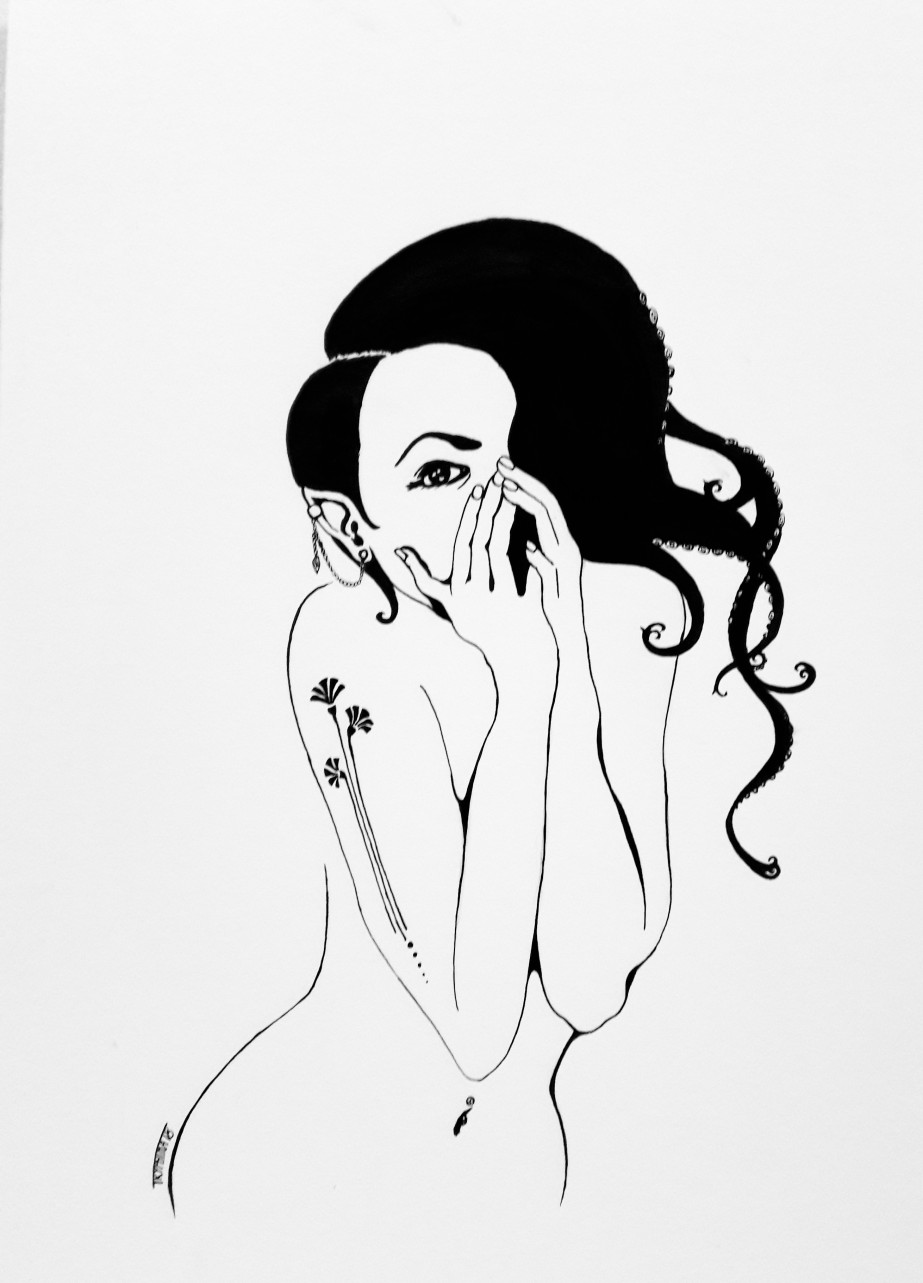 pin up of a naked woman with a tattoed arm, some piercings, elf ears and her hair ends in tentacles