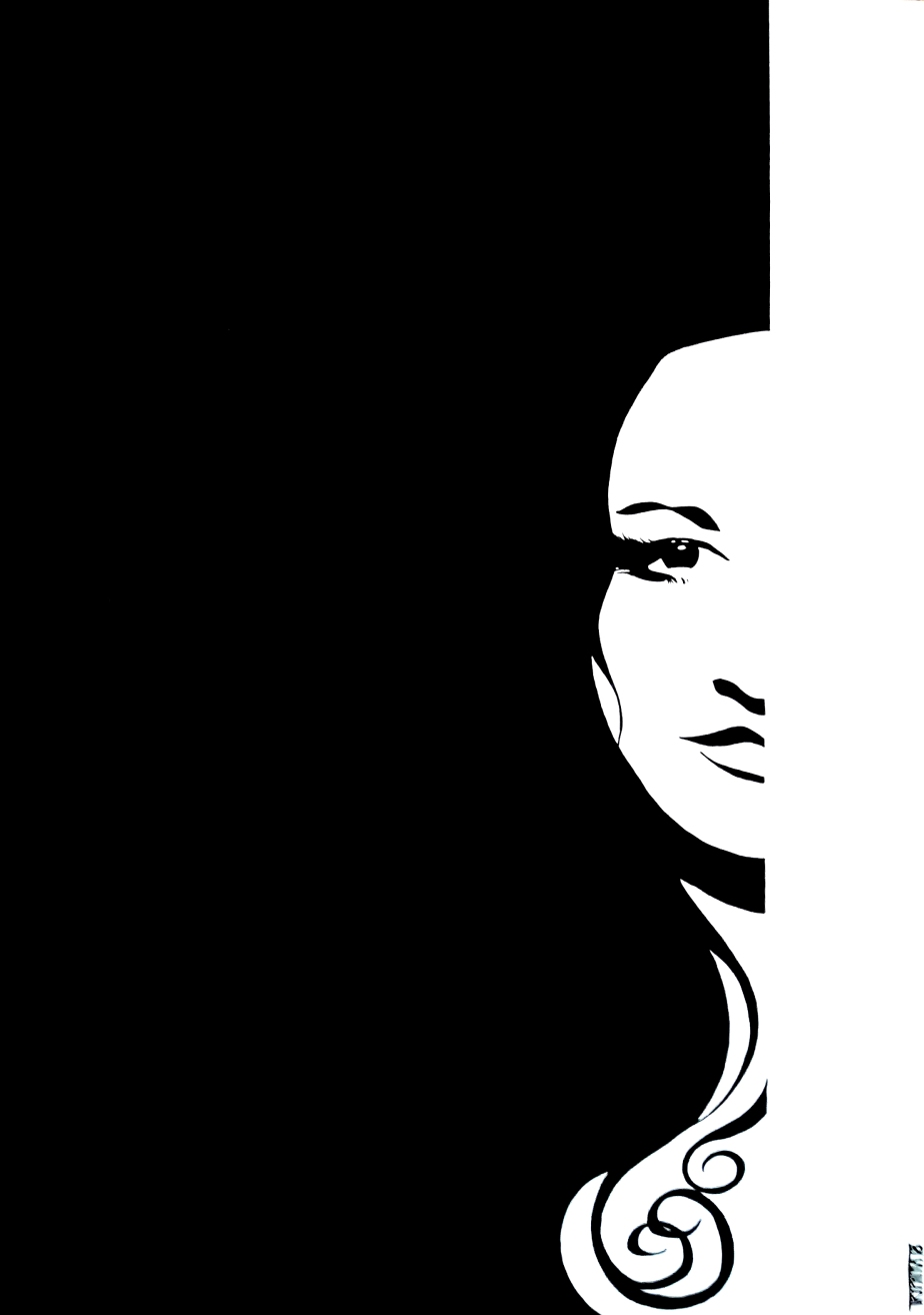 portait, only one half of the woman's face is visible, the other is a white-out.