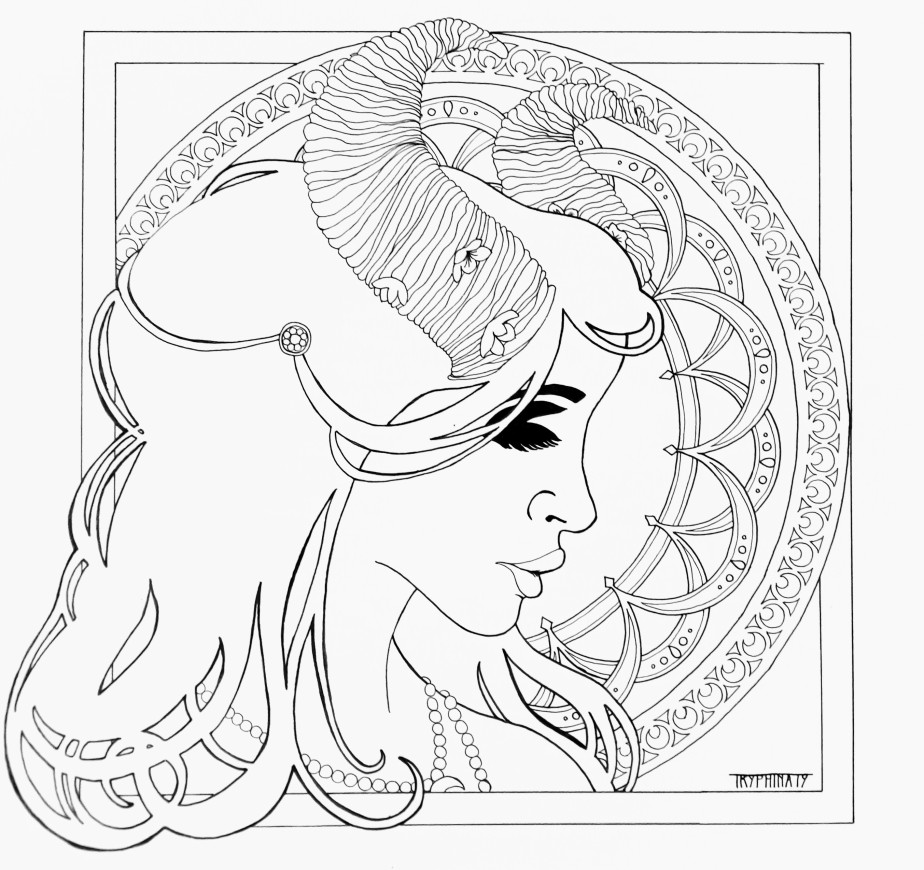 side view portrait of a woman with rams horn, art nouveau style