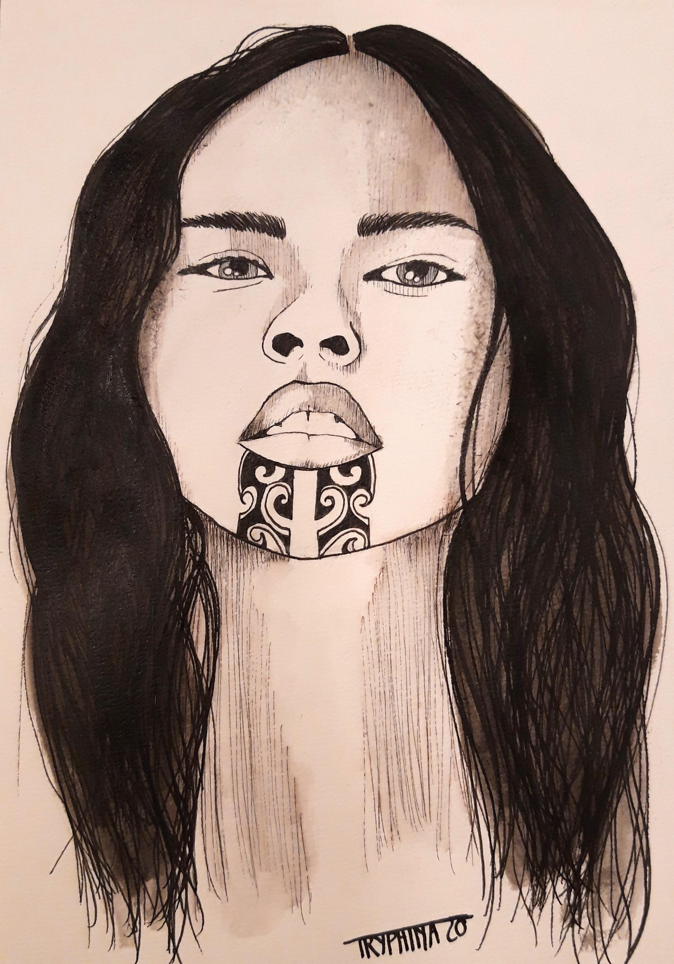 portrait maori face tattoo