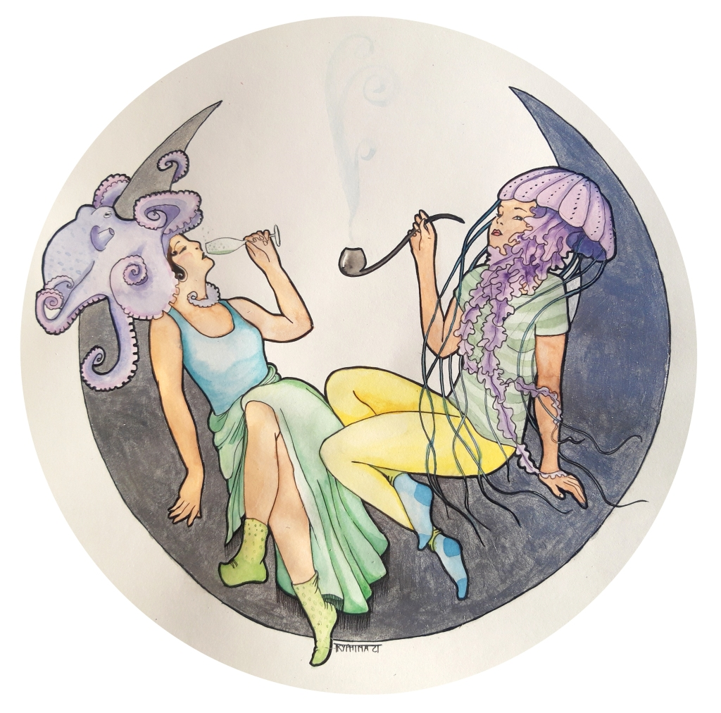 two woman in art nouveau style sitting on a crescent moon, with an octopus and a jellyfish as headgear, drinking champagne and smoking a pipe
