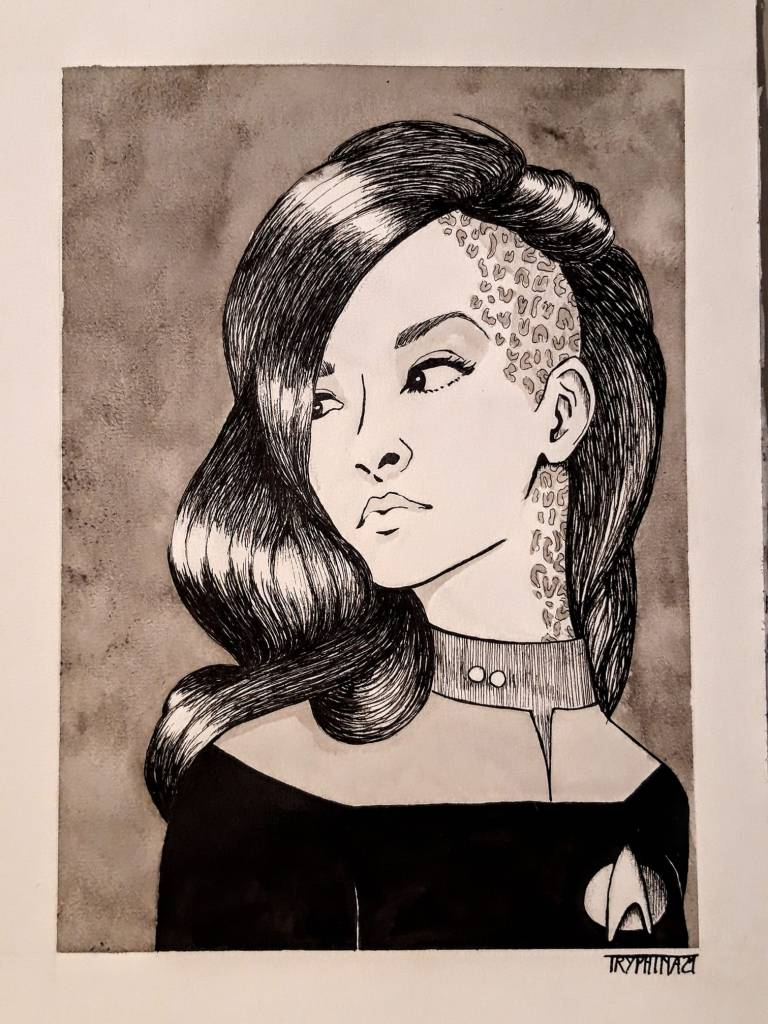 portrait of a woman with the face markings of a trill host from the star trek universe