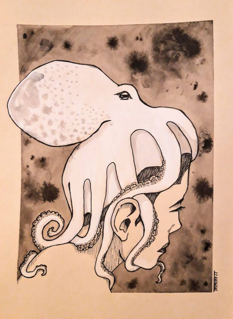 woman looking away from the viewer, carrying a large, white octopus on her head