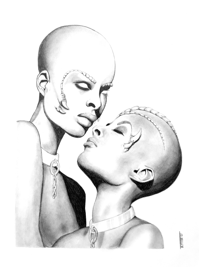 pencil drawing of two bald women with dragon horns and scales