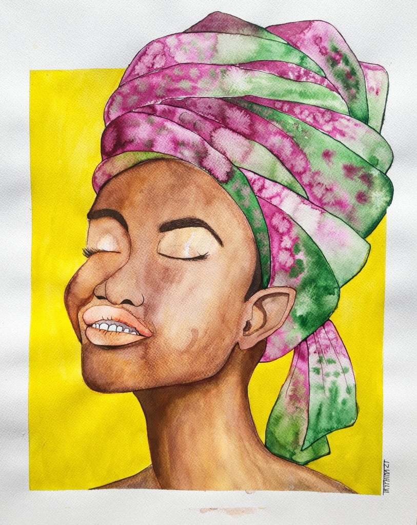 colourful ink portrait of an elf with african features and a headscarf